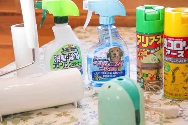 殺虫剤とペット用消臭スプレー、蚊取り線香